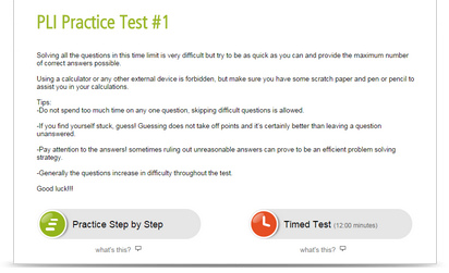 pli-style practice test intro page