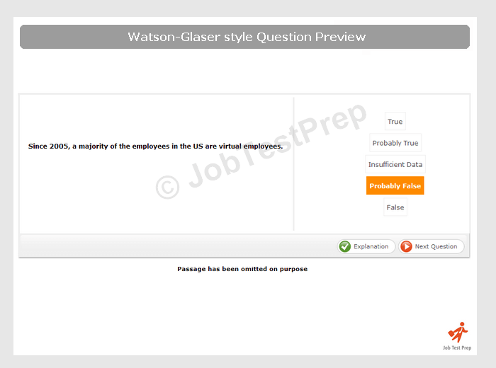 watson glaser test of critical thinking practice Prepare for the watson glaser critical thinking appraisal (wgcta) with jobtestprep's free sample questions & answer explanations practice now & ensure success.