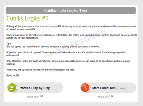 Cubiks style Logiks Practice Tests Sample