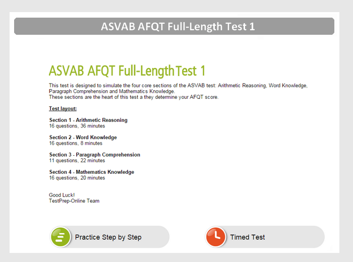 ASVAB AFQT Practice Test #1 Preview