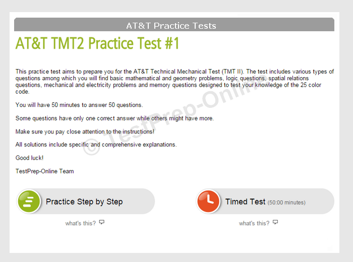 at&t tmt-ii practice test instructions
