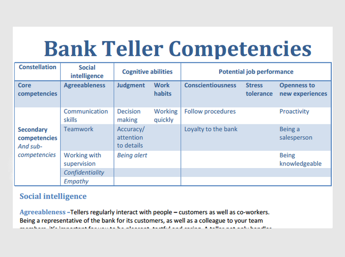 bank teller objectives examples