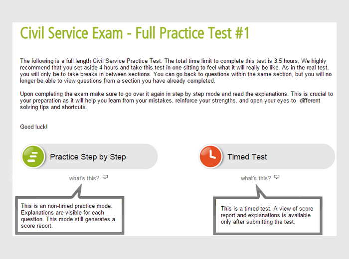 Civil Service Full Practice Test Preview