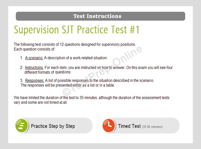 Supervision SJT Practice Test Instructions