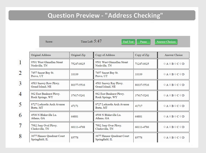 Address Checking Question Preview