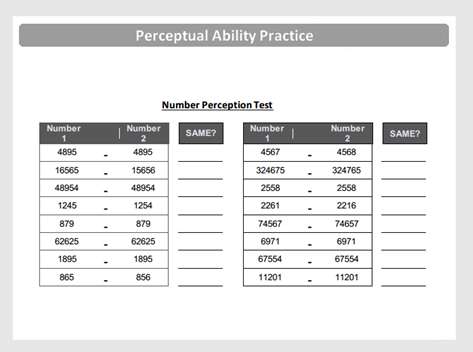 Number Perceptual Ability Question Preview