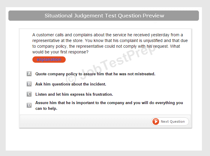 retail sales consultant test questions