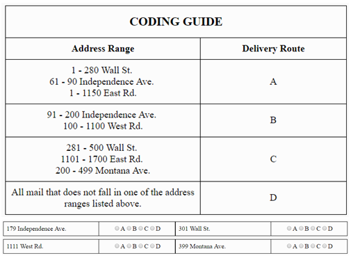 postal exam 473 coding sample 2