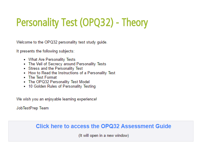 photo regarding Printable Personality Tests identified as Approach for the SHL OPQ Identity Try out